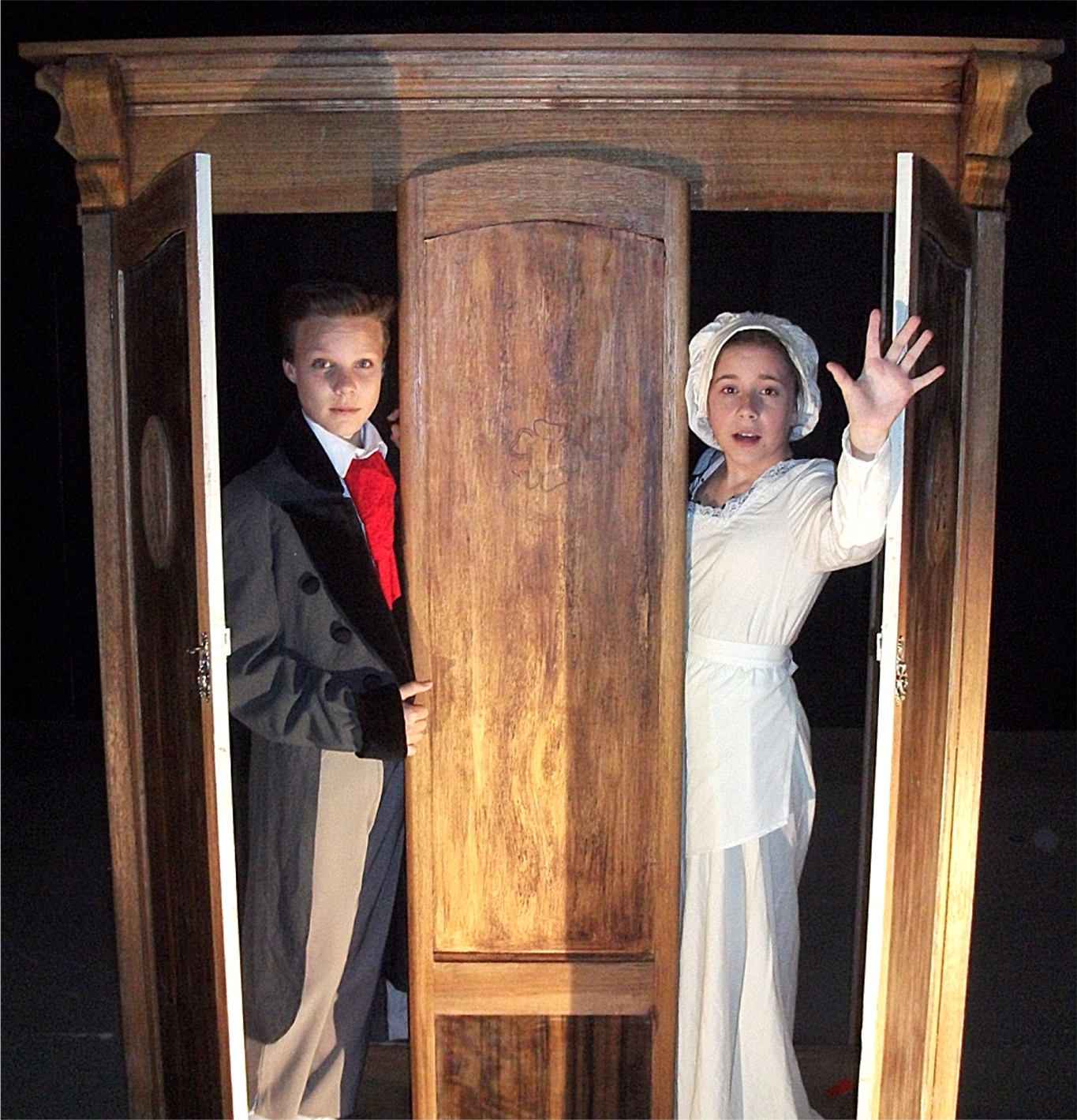 Luis Barnes, left, and Chloe Marlow are two of 23 actors aged between 11 and 17 appearing in  The Wardrobe .