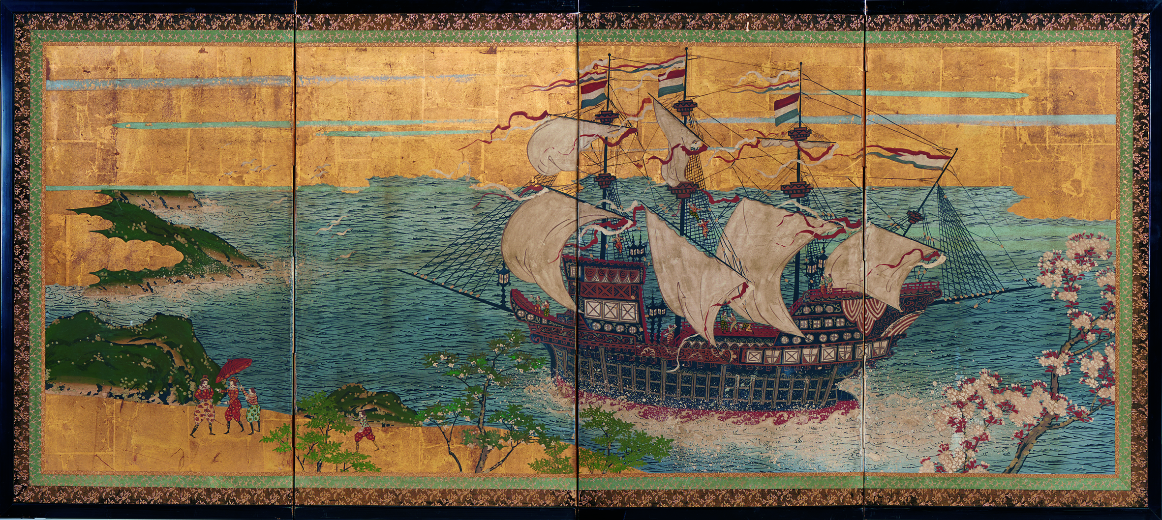 Japan   Dutch trading ship in Japanese waters  c.1870  four-panel screen, opaque watercolour, ink and gold on paper  67.5 x 138.0 x 11.0 cm  Kerry Stokes Collection, Perth
