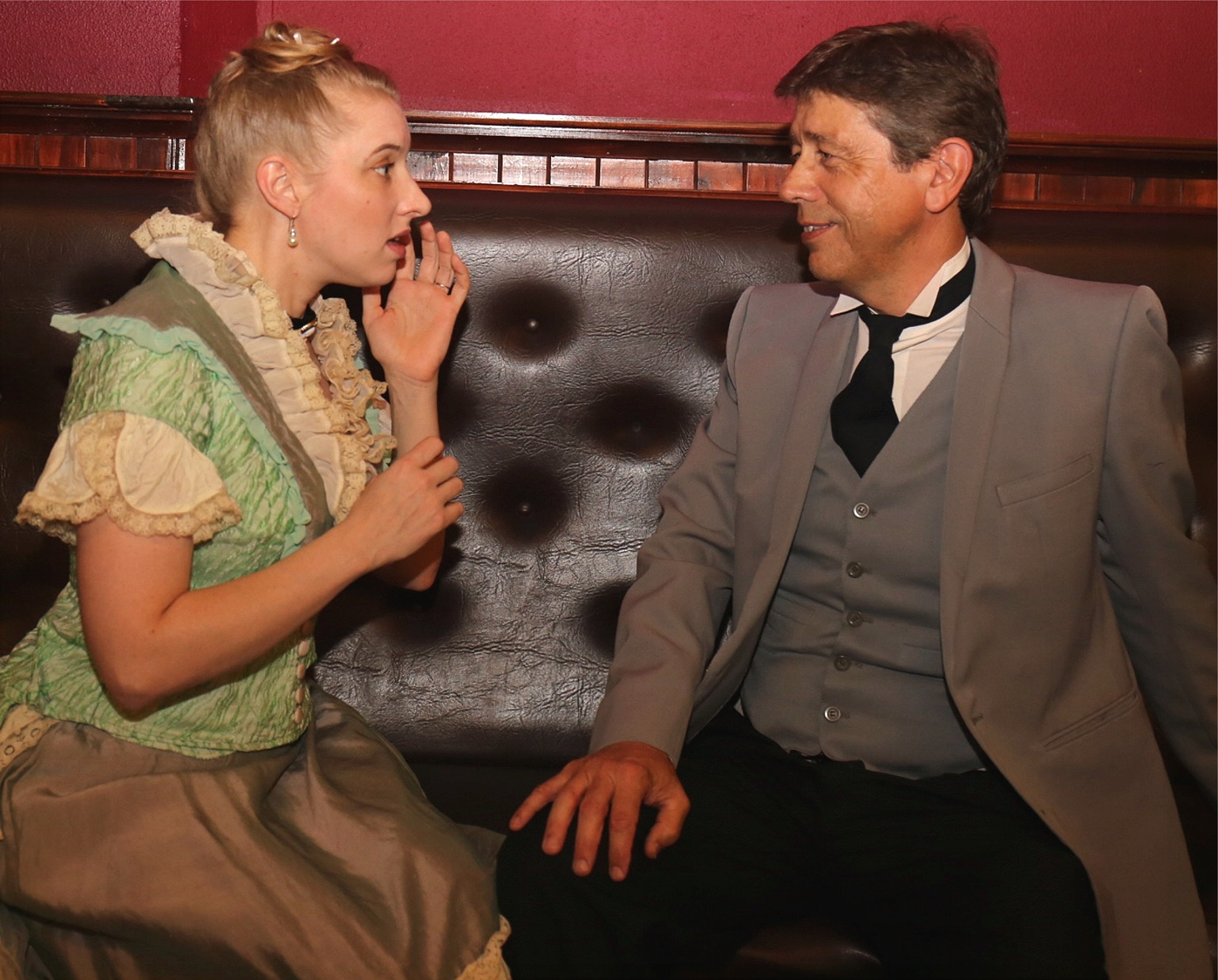 Inspector Rough (Chris Juckes, right) comes to the aid of Bella (Emma Shaw) in  Gaslight  at Limelight Theatre.