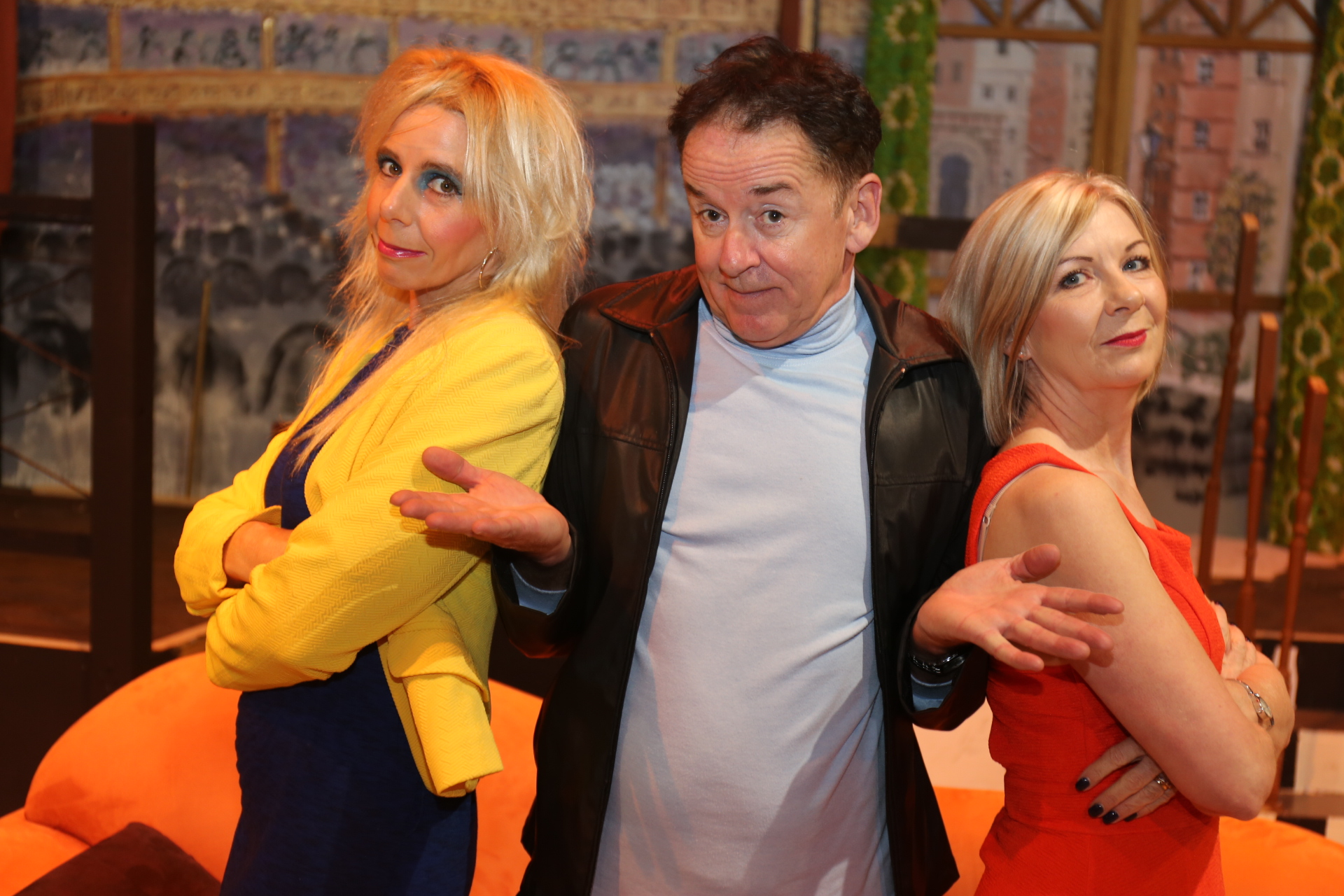 John Smith (Gordon Park, centre) finds himself in a spot of bother with Barbara (Susannah Bell) and Mary (Christine Smith) in  Run For Your Wife .