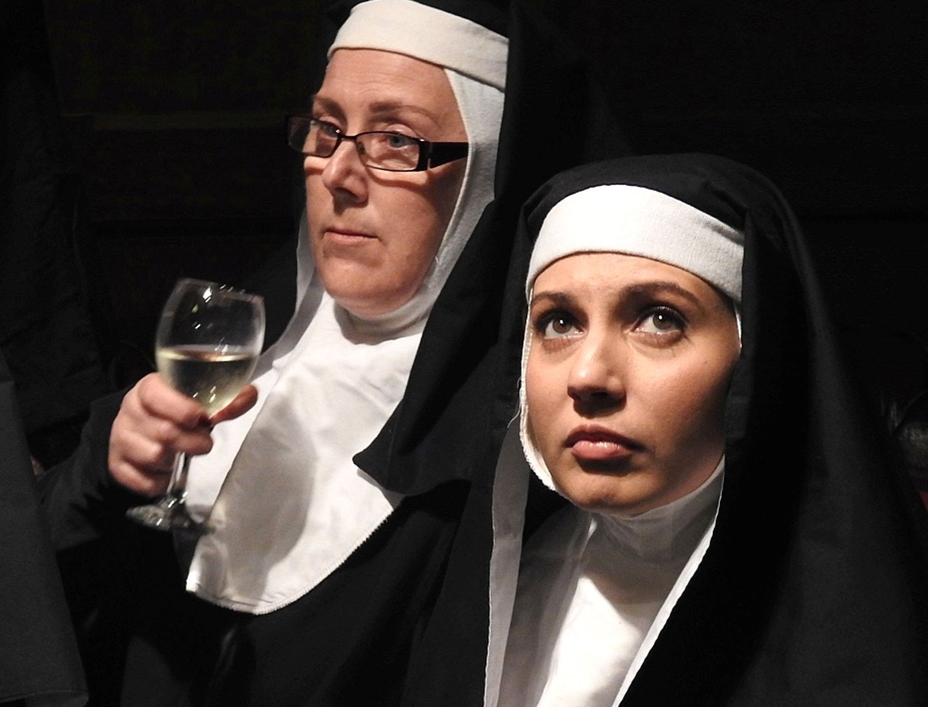 Caroline McDonnell, left, and Valerie Dragojevic are appearing in  Hail Mary 2: The Hauntin g at the Old Mill Theatre. Picture: John Spurling.