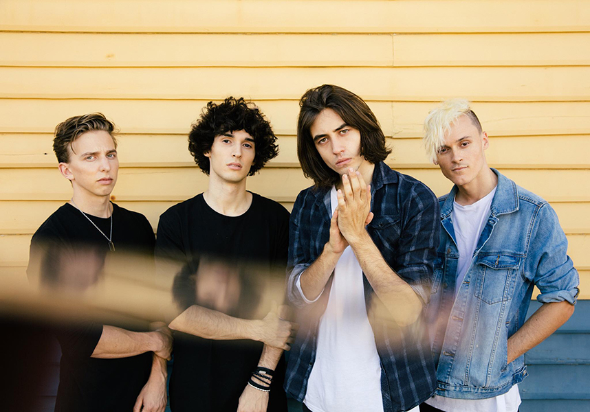 Michael Bono (second from left) with his band The Faim, winner of the 2017 Robert Juniper Award for the Arts (official photograph supplied by Michael Bono)