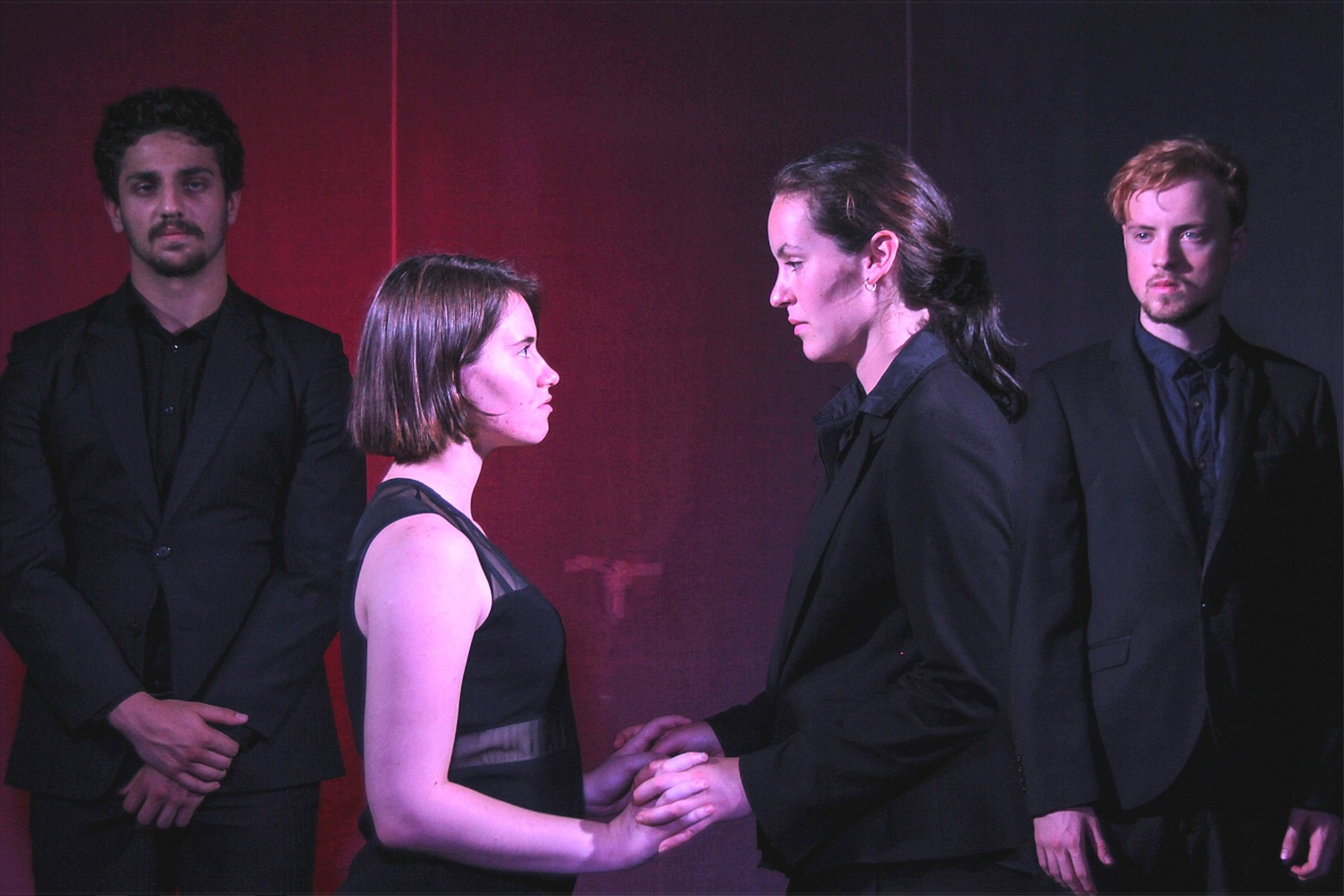 Love under watch in  Romeo and Juliet , featuring Jared Stephenson, Stephanie Bedford, Tia Rose and Quintus Olsthoorn.
