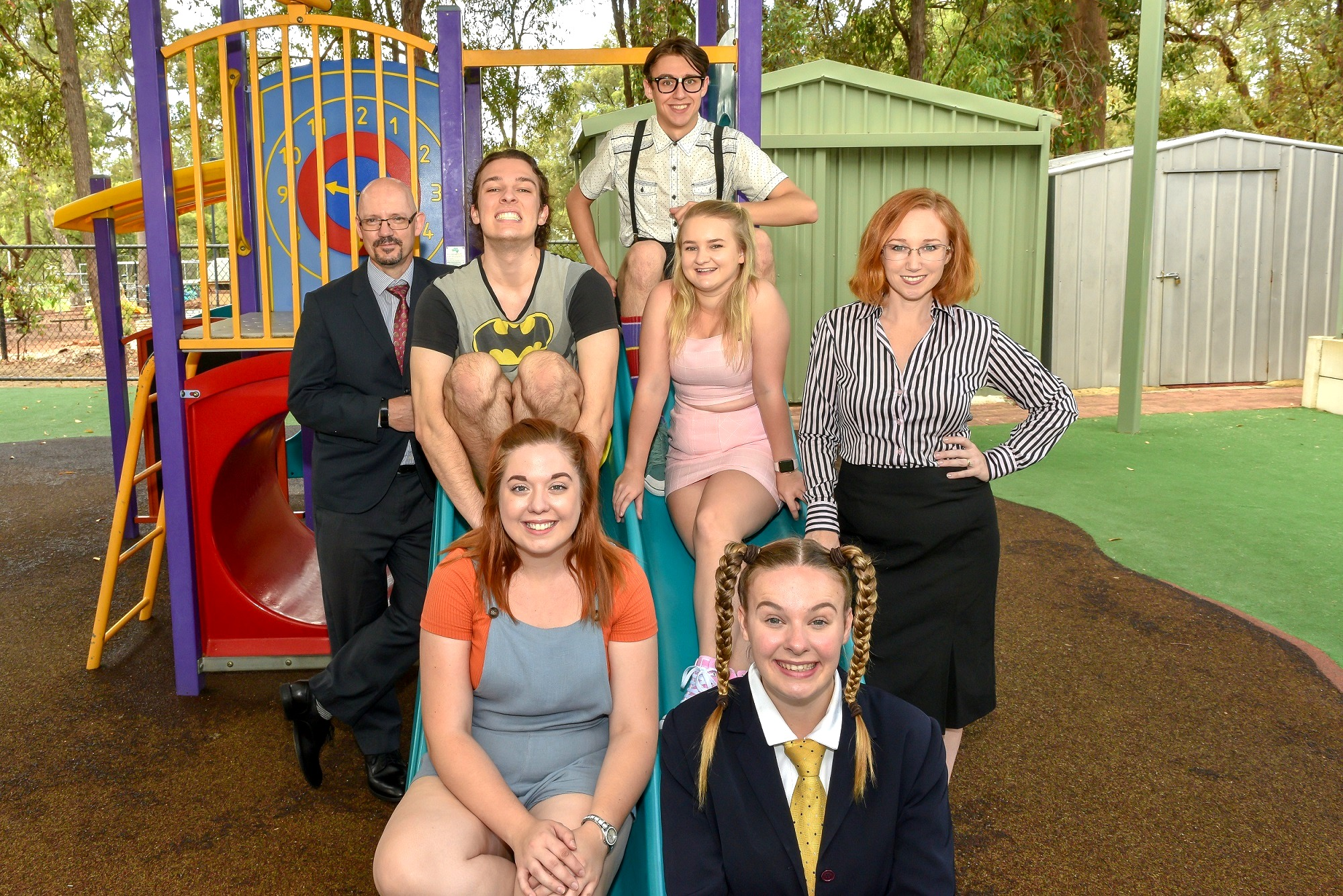 Rory Cornelius, left, Max Gipson, Jarvys McQueen-Mason, Megan McDonald, Nicole George, at back, and Dylan Dorotich and Breanna Redhead, at front, are appearing in The 25th Annual Putnam County Spelling Bee .
