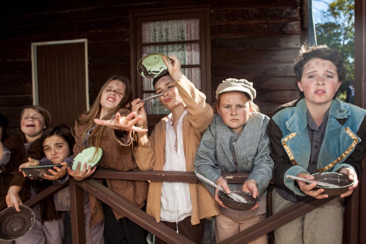 All photos shot on location at Smirks Cottage, thanks to the Kwinana Heritage Group.  Please sir, can I have some more?  Oliver!  features Madison Couzens, left, Annik Spack, Lacey Allen, Duncan Ferguson, Sophie Kirk and Amber Salathiel as some very hungry children. Picture: Zoe Jay