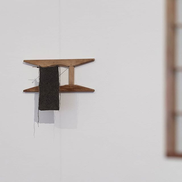 Ómra Caoimhe, The Stitch, The Bead and The Line, hand-knitted silk cloth, found wooden artefacts, wooden needles, 2019, dimensions variable. Image courtesy of the artist, photographed by Bo Wong.