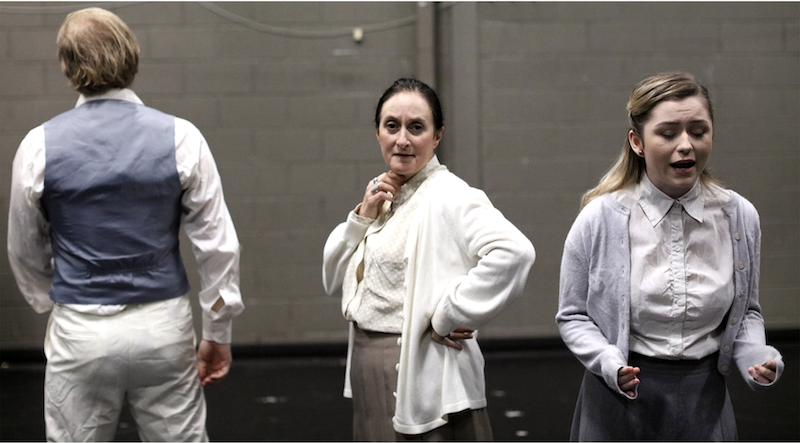 Photo credit: glass3: The Glass Menagerie is filtered through the memory of Tom (James Ford, left) as he reflects on his life with mother Amanda (Danielle Antaki, centre) and sister Laura (Donna O'Brien). Picture: Myles Wright.