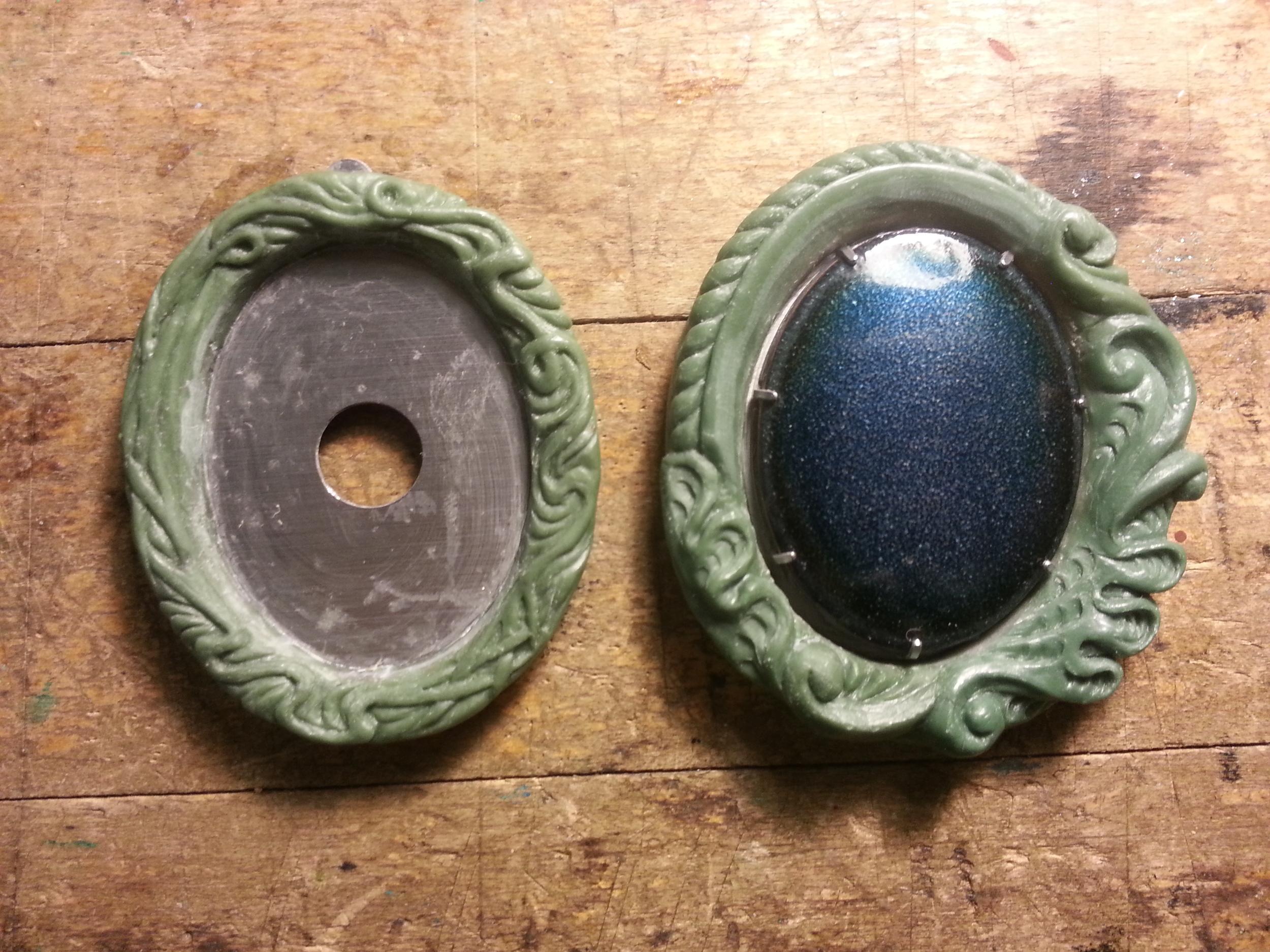 Left: Pendant. Right: Brooch.