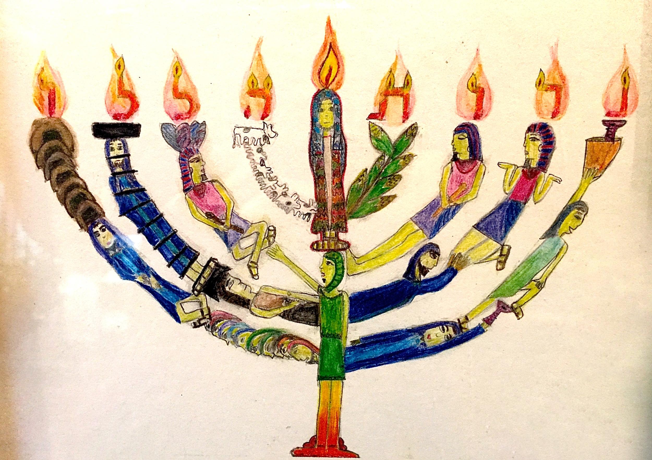The card I designed for my bat mitzvah invitation - Joseph's story woven into the hanukkiyah