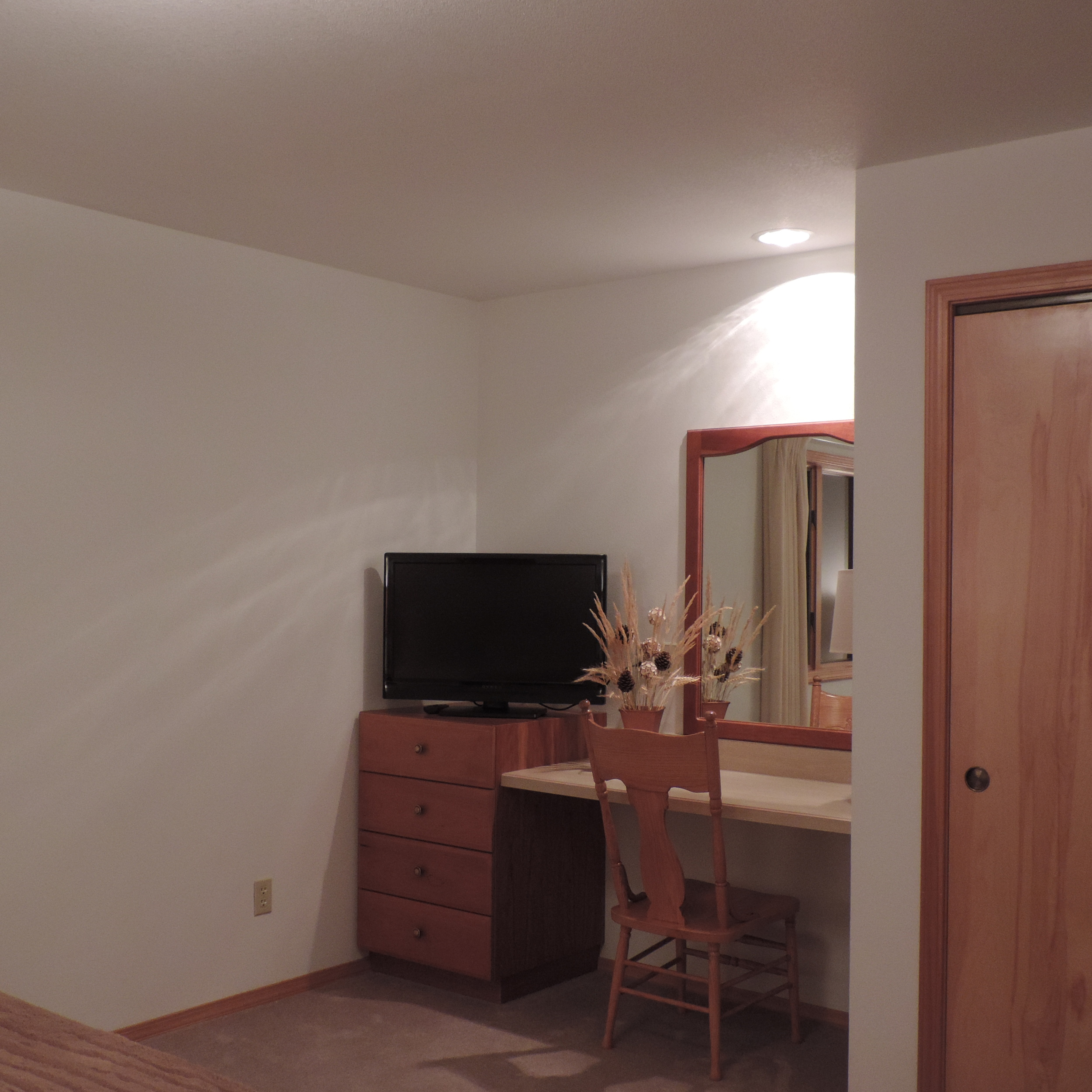 Flat screens and desks in each guest room