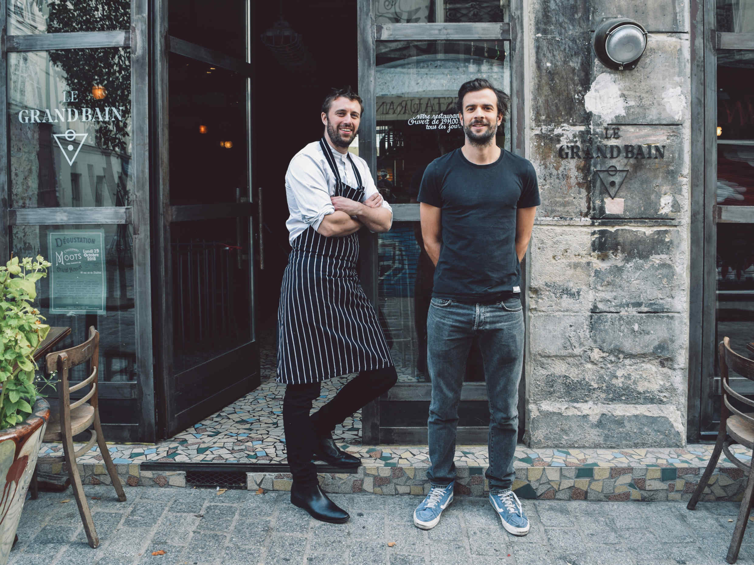Chef Edward Delling-Williams (left) with sommelier Edouard Lax outside Le Grand Bain