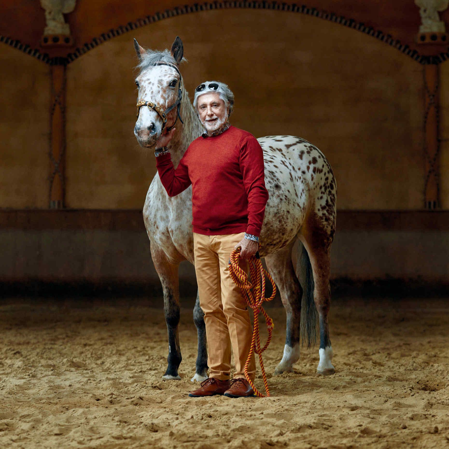 Juan Pablo Molyneux rides horses kept at Haras de Villechétive, a stable near his château.