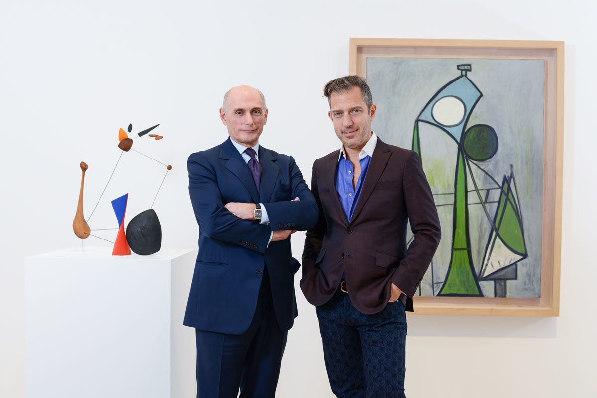 ernard Ruiz-Picasso and Alexander S. C. Rower. Photo by Casey Kelbaugh, courtesy of Almine Rech; Alexander Calder / Constellation with Diabolo. 1943. Wood, wire, and paint. 24 1/4 x 18 1/4 x 16 in. © 2016 Calder Foundation, New York / Artists Rights Society (ARS), New York. Pablo Picasso / Woman. June 8, 1946. Oil on plywood. 51 1/8 x 38 1/8 in. Zervos XIV-175 (Figure) © 2016 Succession Picasso / Artists Rights Society (ARS), New York.