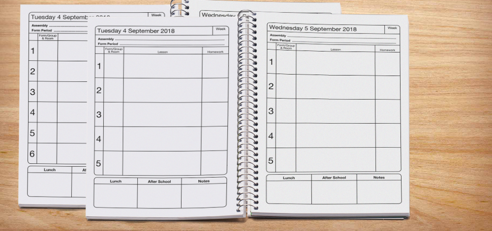 Fully dated diary with 5, 6, 7, 8 and 9 lesson layout options -