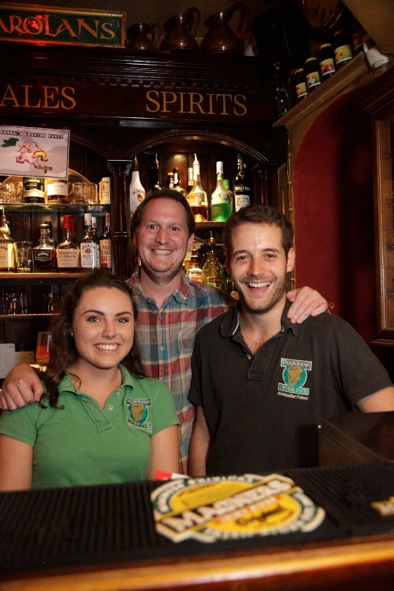 The team at O'Carolans Irish pub Montpellier.jpg