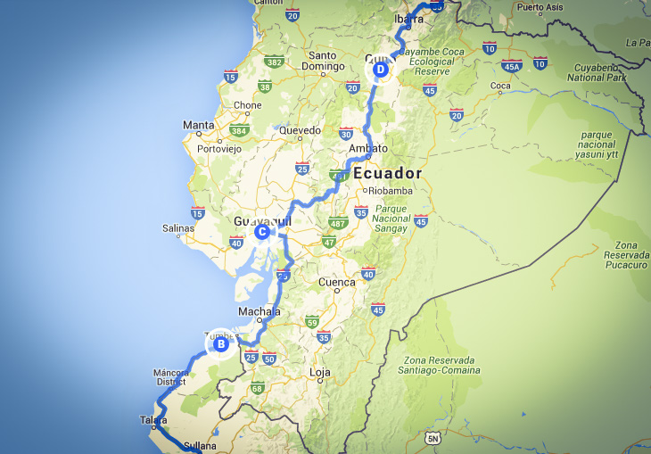 The route (googlemymaps)