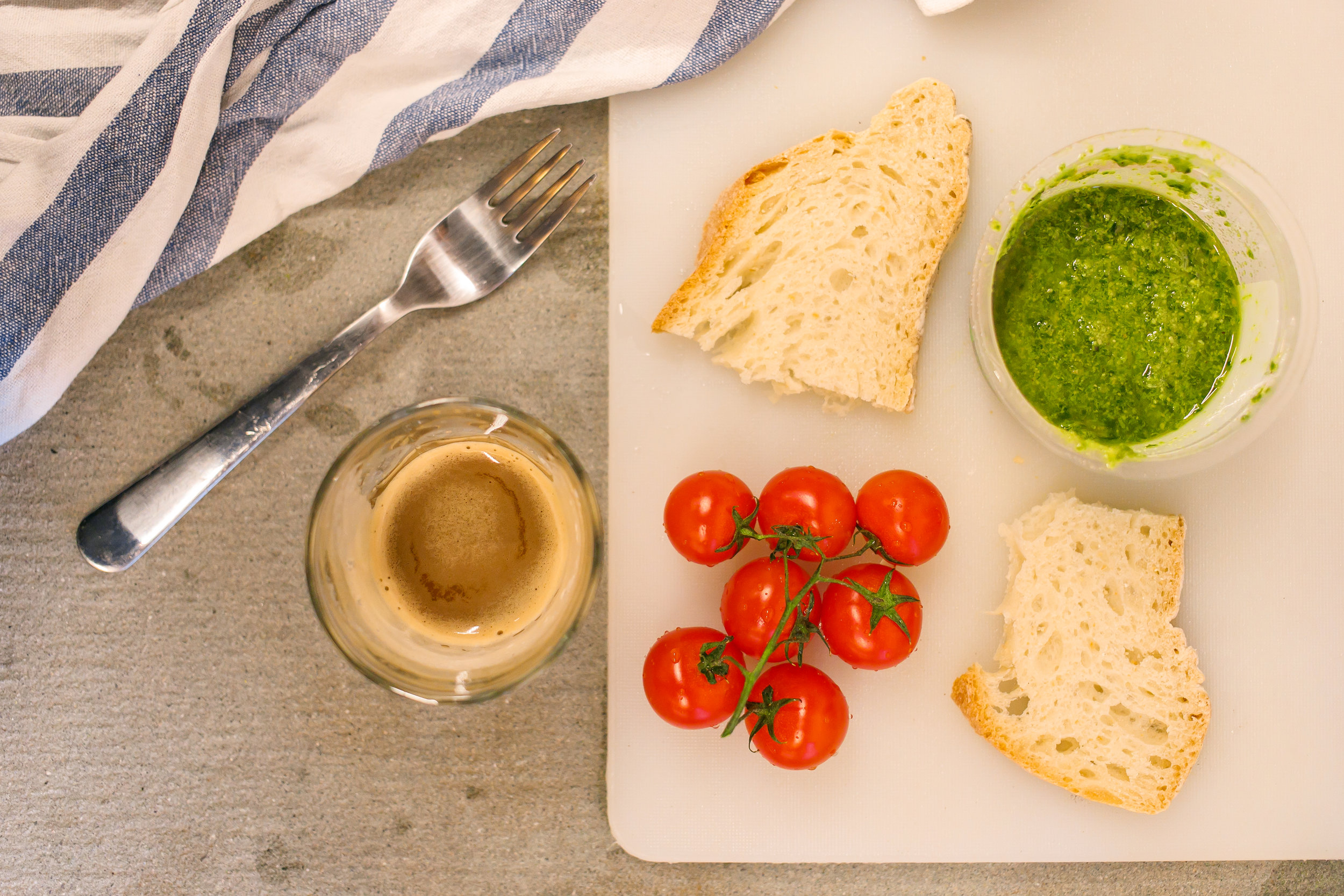 Espresso, bread, tomatoes, and pesto! I did so much cooking that week.