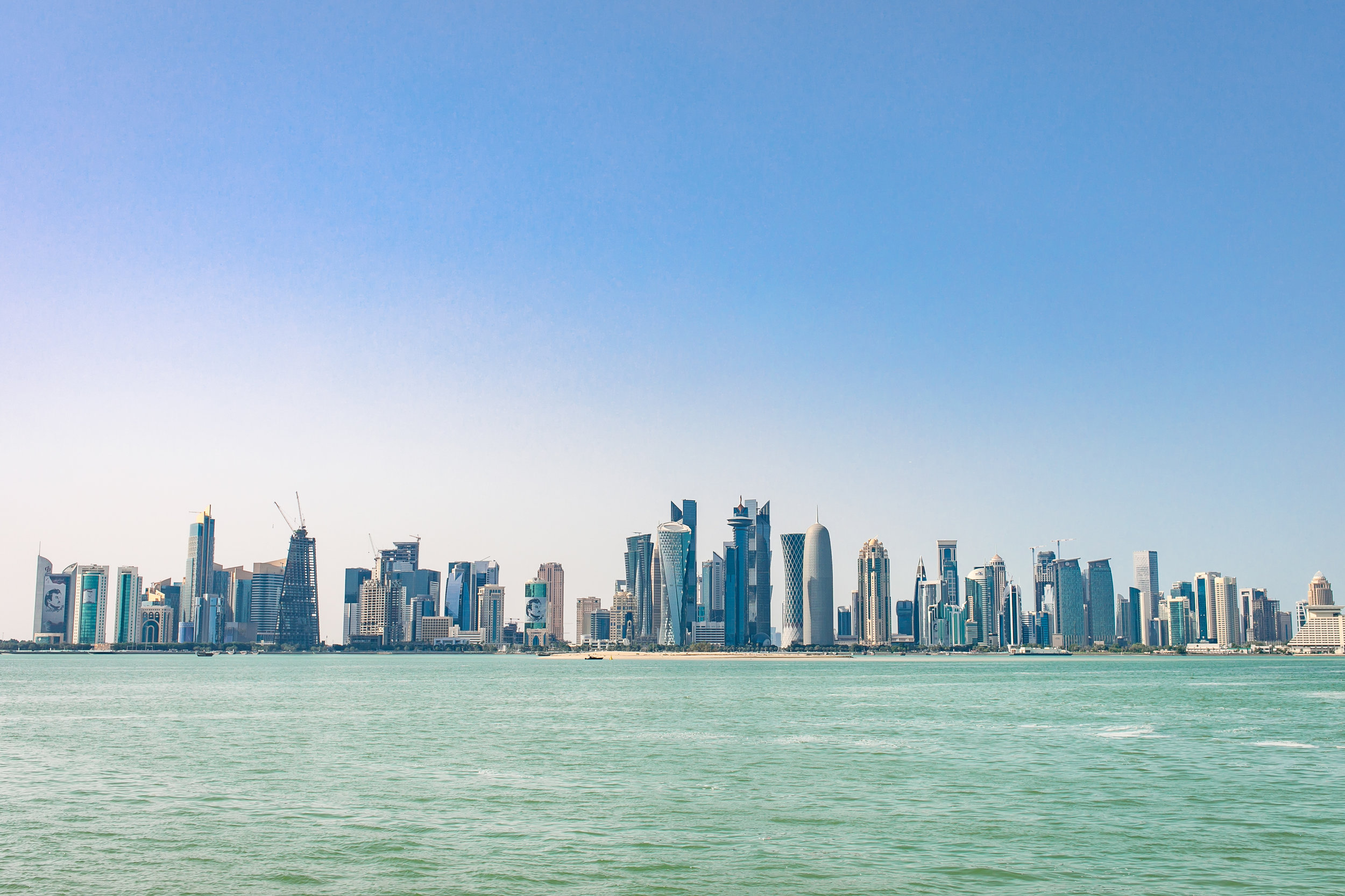 The futuristic skyline of Doha.
