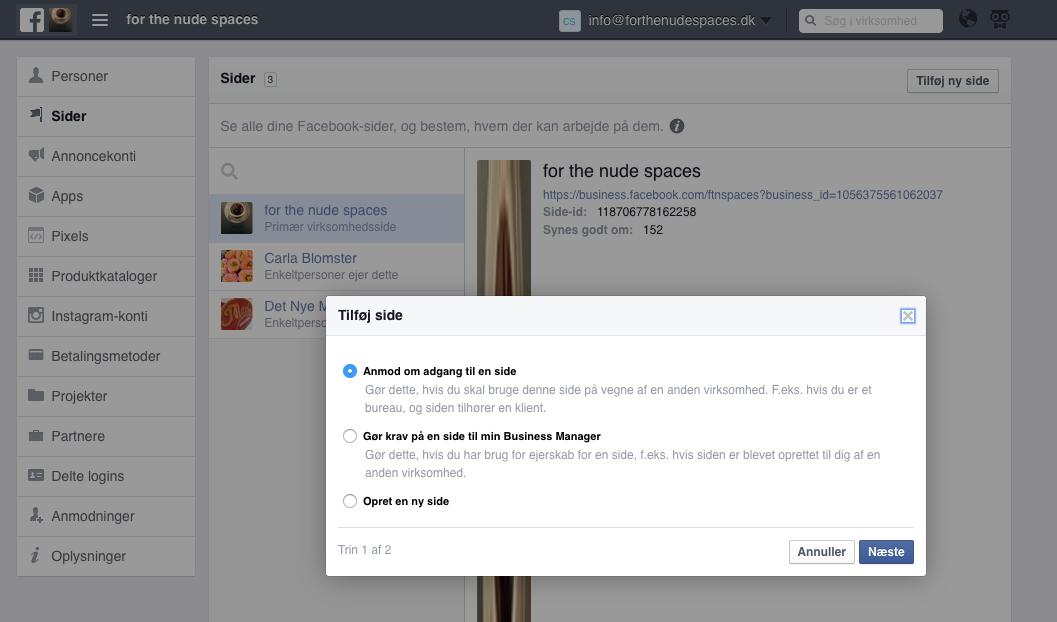 Hvis du tilføjer dine kunder/sider her - kan du nemlig allerde nu, gå igang med at oprette annoncer for dem - både på facebook og nstagram - i næste trin!