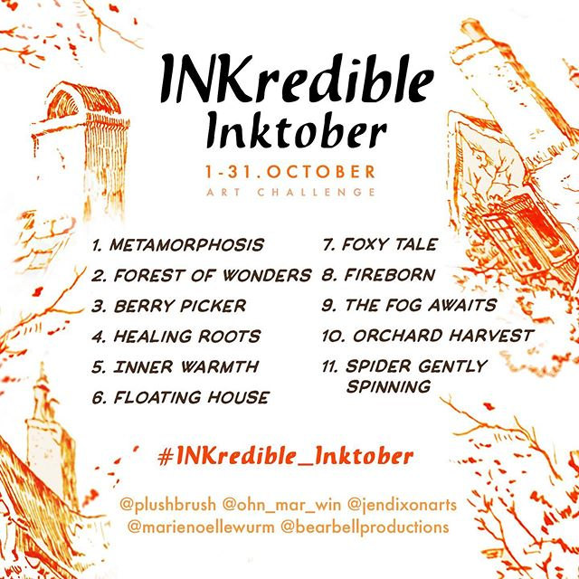 ✨Let's make this autumn special!..😍🍁For most of us, it's one of the busiest times of the year. And we nee-e-d the tiny magic place of inspiration to recharge our energy❤️✨ If you feel the same way —  join our magical, inspiring and autumn-y challenge #INKredible_Inktober 🖋🧡🎃 That's right! Our very own Inktober* in perfect company with wonderful prizes!❕❕ I've teamed up with masters of inks and my Skillshare top teachers colleagues  @ohn_mar_win @marienoellewurm @bearbellproductions and @jendixonarts to explore all kinds of inks techniques! JOIN US! . 🤗The rules are very simple: . ✅1.  Create inky drawing and post it using #INKredible_Inktober ✅2.  Repost this image on your Instagram feed  ✅3.  Follow all organizers on Instagram @plushbrush @ohn_mar_win @jendixonarts @bearbellproductions @marienoellewurm . And the most important rule ENJOY the process!😌 🔮You can use ANY kinds of traditional and digital inks —  India inks, acrylic, liquid watercolour inks, markers, liners, Procreate, Photoshop, Illustrator etc.. . . 🎁!!PRIZES!!🌟 From all participants who have used all prompts and posted their artwork according to the rules, we will choose 🙀FIVE(!) 😻winners that will get: ✔️❕One year of @Skillshare Premium Membership (worth $99 each) ✔️❕And two more winners will get toned paper hardcover notebooks especially for Inks from German manufacturer Hahnemühle 🖌❤️ @hahnemuehle_global . You can do the different prompts whenever you want during the challenge, but to be eligible for the challenge prizes you have to do all 11 prompts and post before 1 November. . . . We're super excited and would love you to join us! 🎃🥛🍪Let's get inspired while drinking freshly brewed pumpkin latte and listening to the whispering of autumn leaves.🍂 . 🧡Are you in?💛 . . . *if you haven't heard of #Inktober it's a yearly inky challenge created by @jakeparker to fill 31 days of October with 31 ink drawings. Here is the official account @Inktober .  ** This challenge isn't sponsored, endorsed or admini