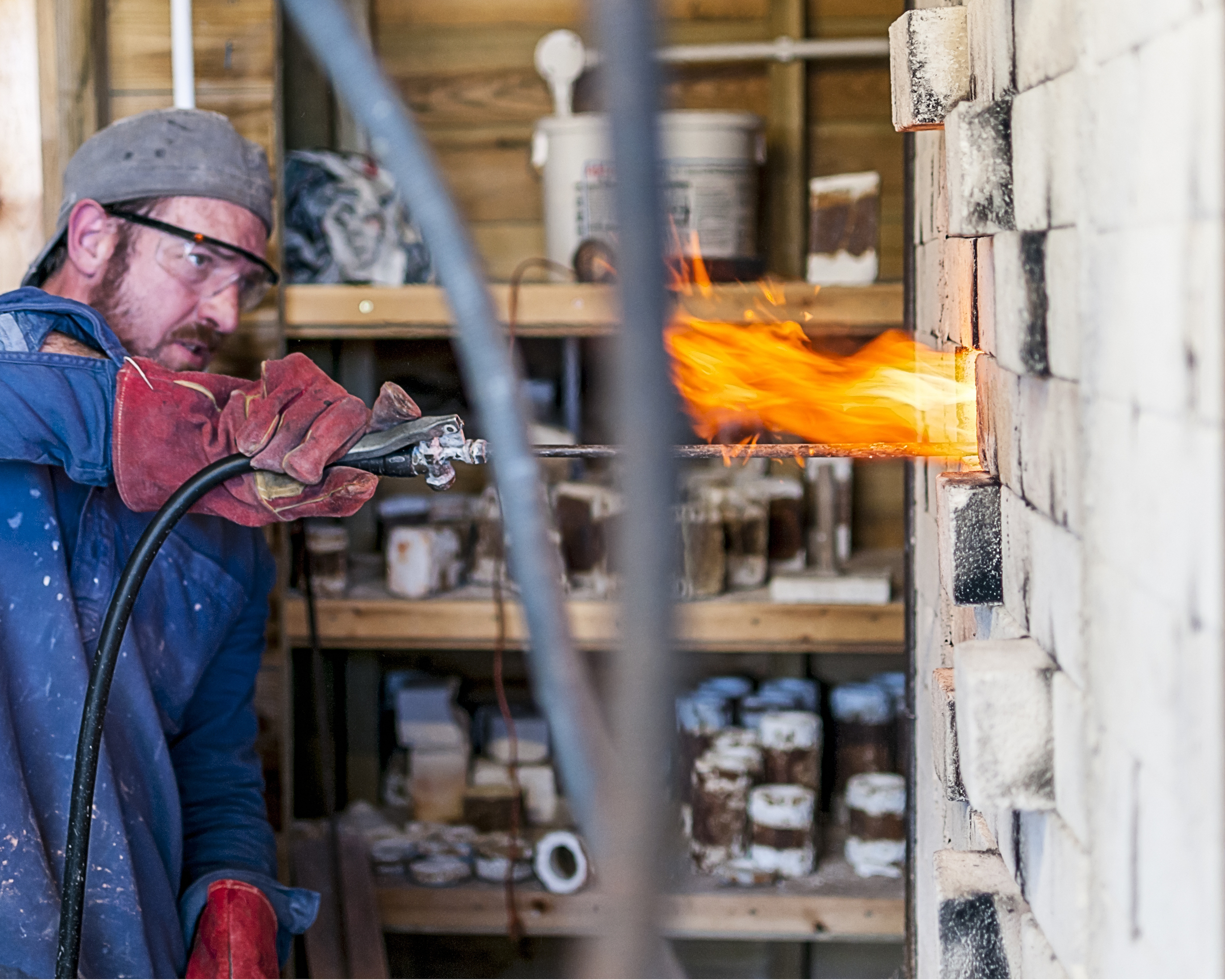 Roelof Uys injecting Sodium Carbonate while firing one of the new kilns