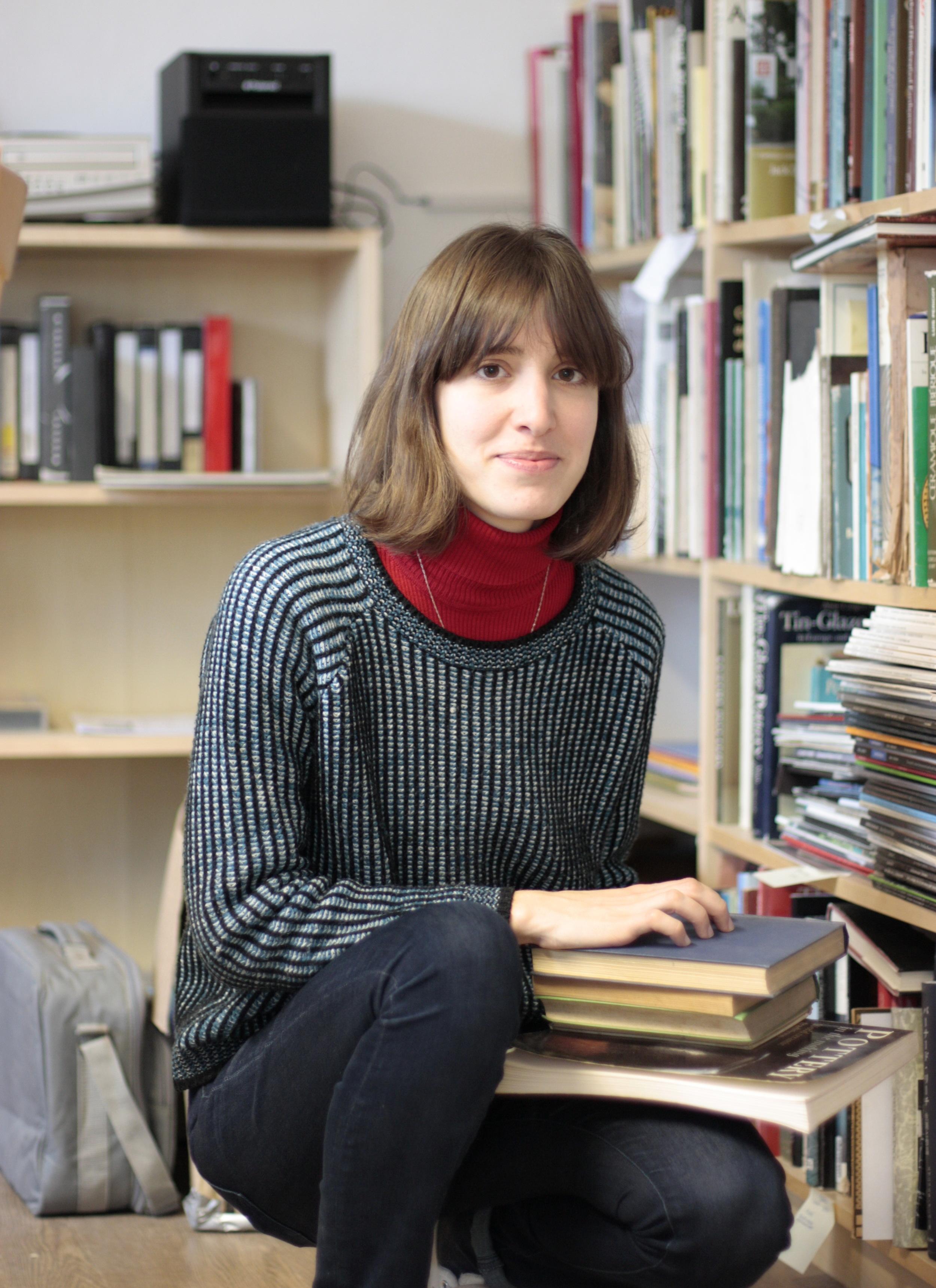 Cecilia Levratto in the library at Beagle Cross. Photo by John Bedding