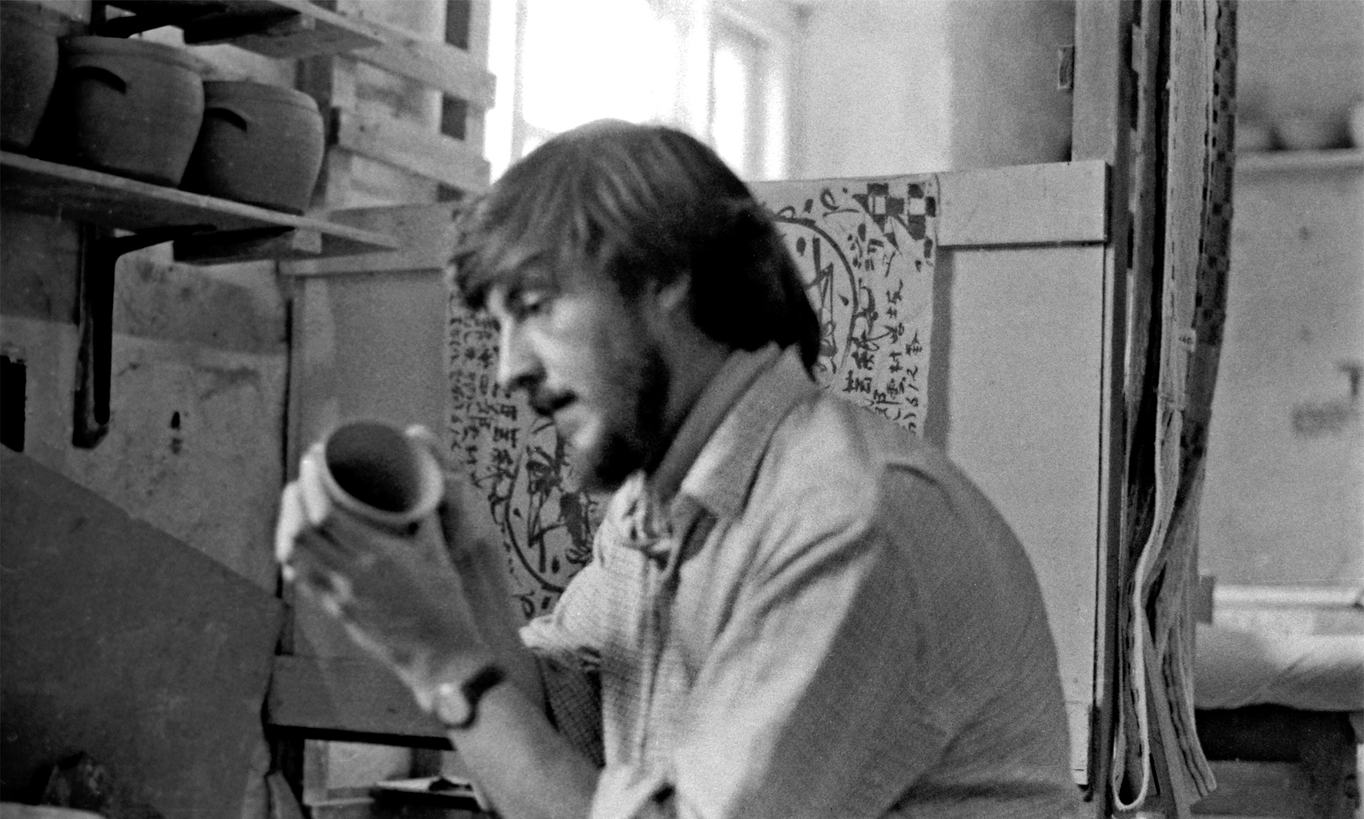 Trevor Corser at work in the Leach Pottery. Photograph: Marie Yates