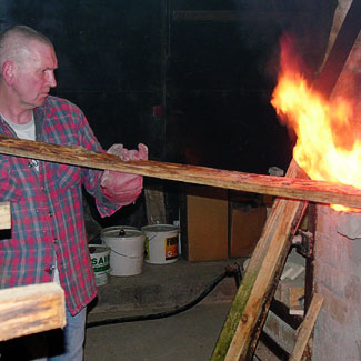 Jim Firing his kiln