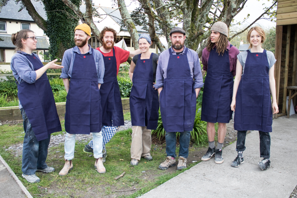 Potters Kat Wheeler, Matt Foster, Lawrence Eastwood, Britta James, Roelof Uys, Carson Culp and Shannon Bartlett-Smith in their new (at the time!) Leach Pottery aprons