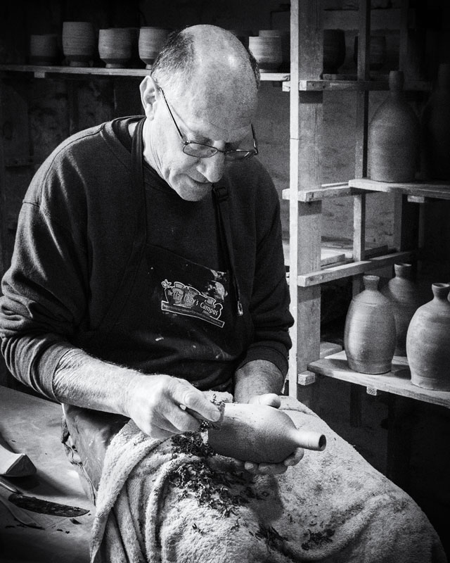 Peter Rose working at the Leach Pottery