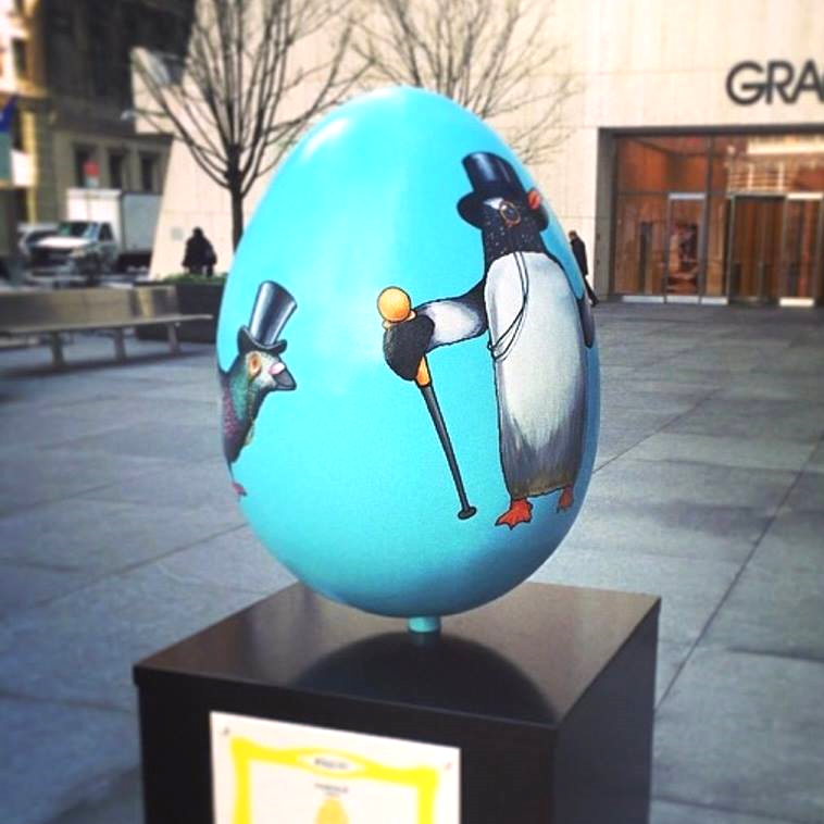 Alice's hand-painted egg in New York's Financial District