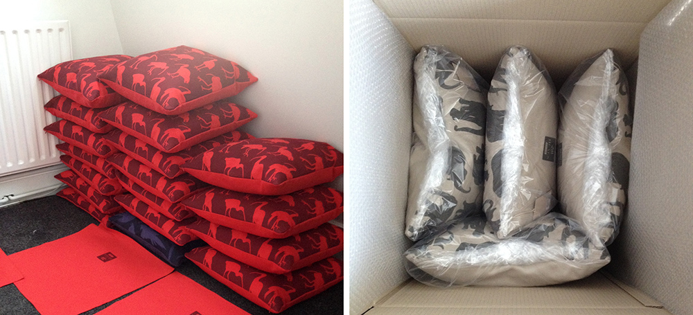 Cushions ready for dispatch
