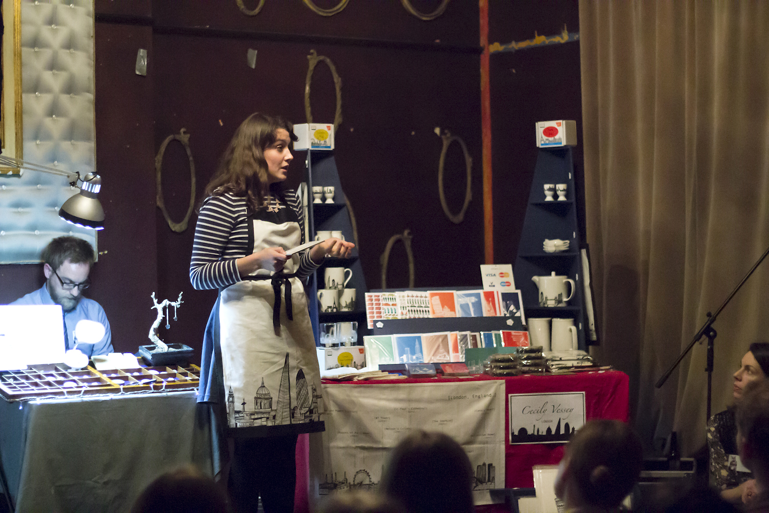 Cecily speaking at a recent Crafty Fox Talks event. Photo by Yeshen Venema