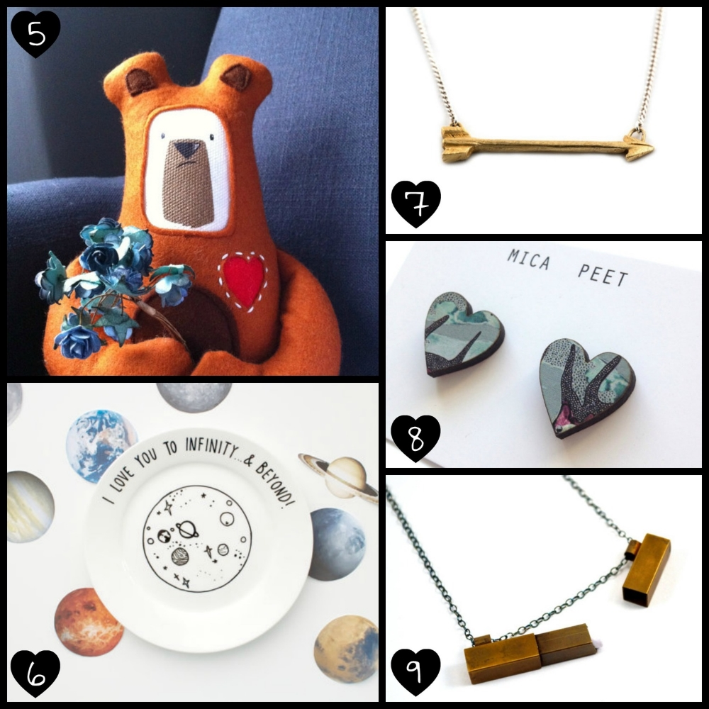 5.  Valentine's Pygmy Bear Plush Toy  by Pygmy Cloud, 6.   Hand Illustrated Plate  by OH NO Rachio, 7.   Gold Arrow Necklace  by The Wandering Castle, 8.   Blue Patterned Heart Stud Earrings  by Mica Peet, 9.   Secret Message Locket Necklace  by Chanchala.