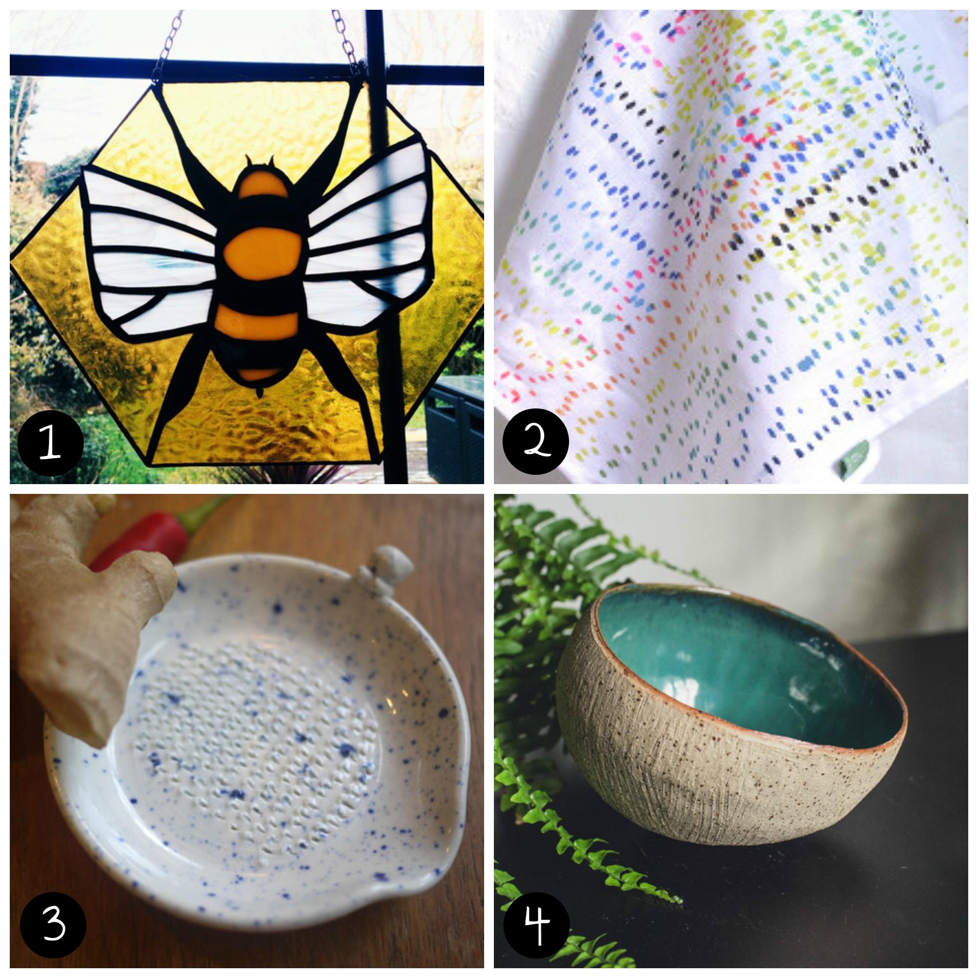 1.  Ittindi Glass  (Peckham - Sat 11 April), 2.  JoannaZenghelis (Peckham - Sun 12 April), 3. Nyanko Pots  ( Peckham - Sun 12 April), 4.  Daisy Cooper Ceramics  (Peckham - Sat 11 April)