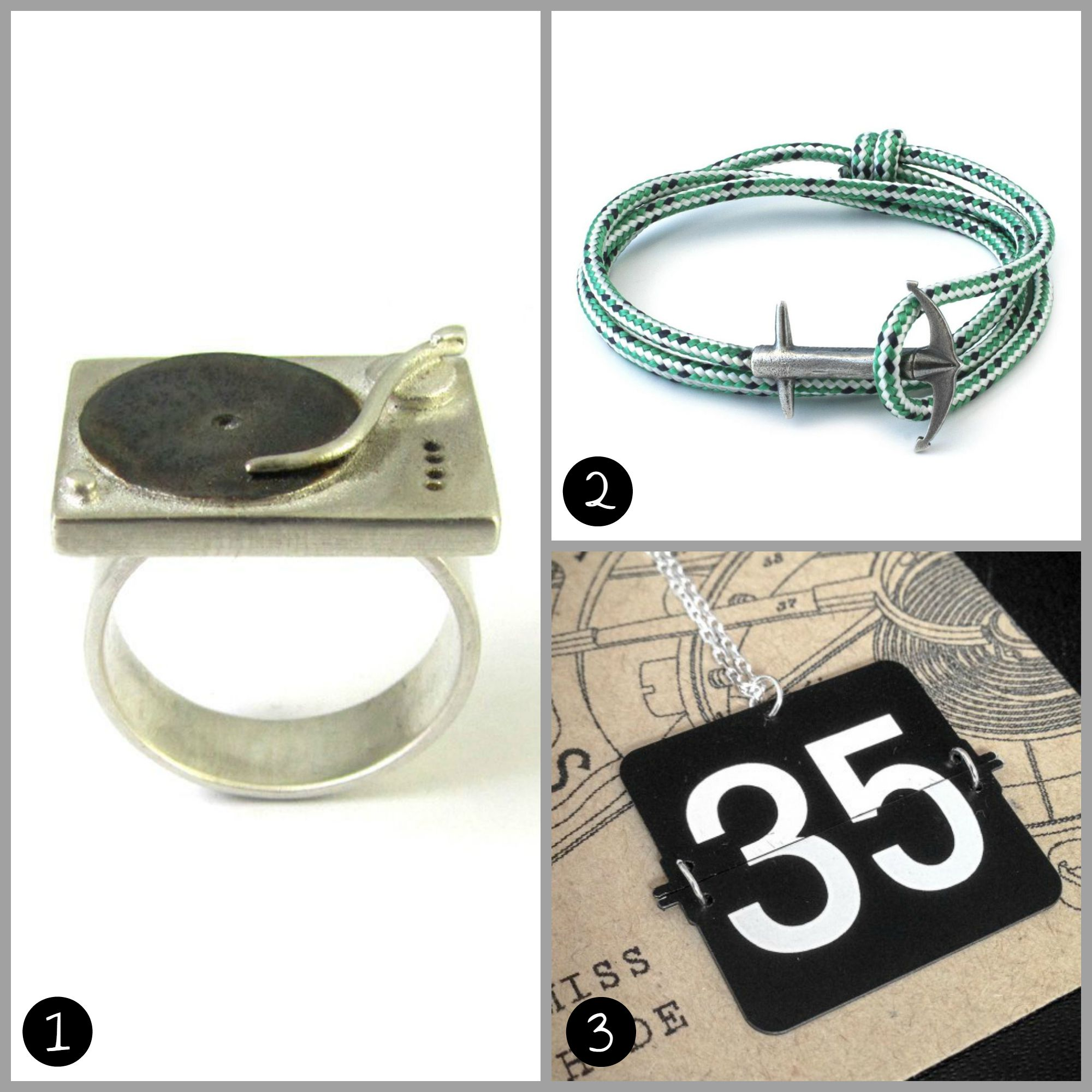 1.  CHIEF COUGAR'S 1210S TURNTABLE RING  (£92) by Bug    2.  SIGNATURE COLLECTION ADMIRAL ROPE ANCHOR BRACELET  (£70) by Anchor & Crew:  3.  PERSONALISED 'MISS HYDE' VINTAGE FLIP CLOCK PENDANT NECKLACE  (£27) by Rodology