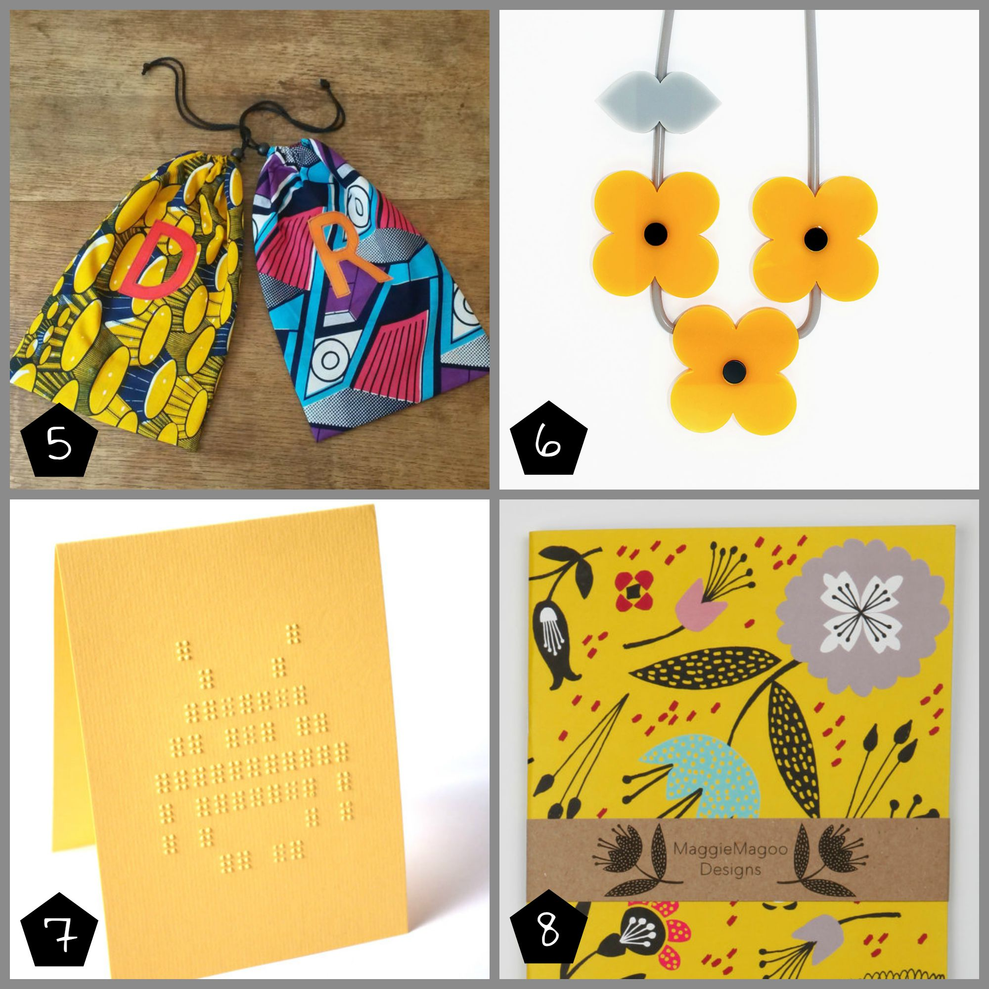 5. Little Prints Clothing  (Brixton - Sunday 4 Oct,Peckham - Sunday 11 Oct), 6. Iris De La Torre  (Shoreditch -Saturday 26 and Sunday 27, Peckham -Saturday 10 Oct), 7. Beth Lau Braille  ( Shoreditch -  Saturday 26 and   Sunday 27), 8.  MaggieMagoo Designs  (Peckham - Sunday 11 Oct)