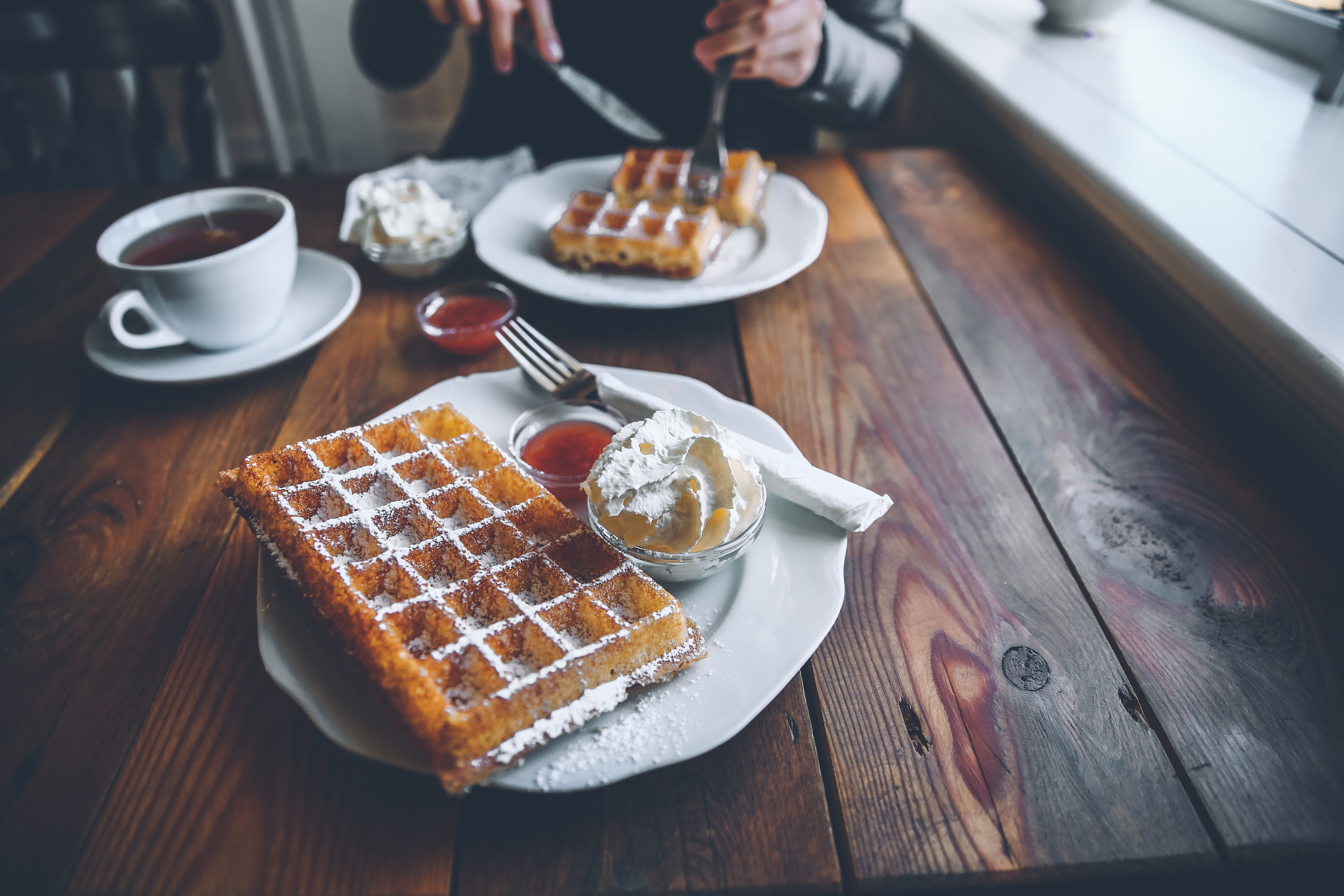 Belgian waffles at Simbahollin Cafe in Iceland.jpg
