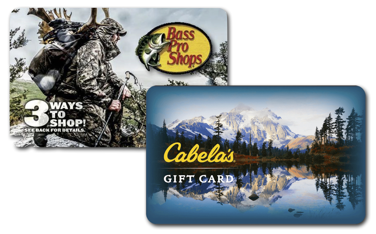 3rd Prize - $2,500.00 Bass Pro Shops/Cabela's Gift Card. Bass Pro Shops and Cabela's offers the most comprehensive selection of Fishing, Hunting, Camping, Boating, and Outdoor Gear, that you will find anywhere. The Gift Card can be redeemed for online purchases, catalog orders, and purchases made at Bass Pro Shops and Cabela's retail stores.