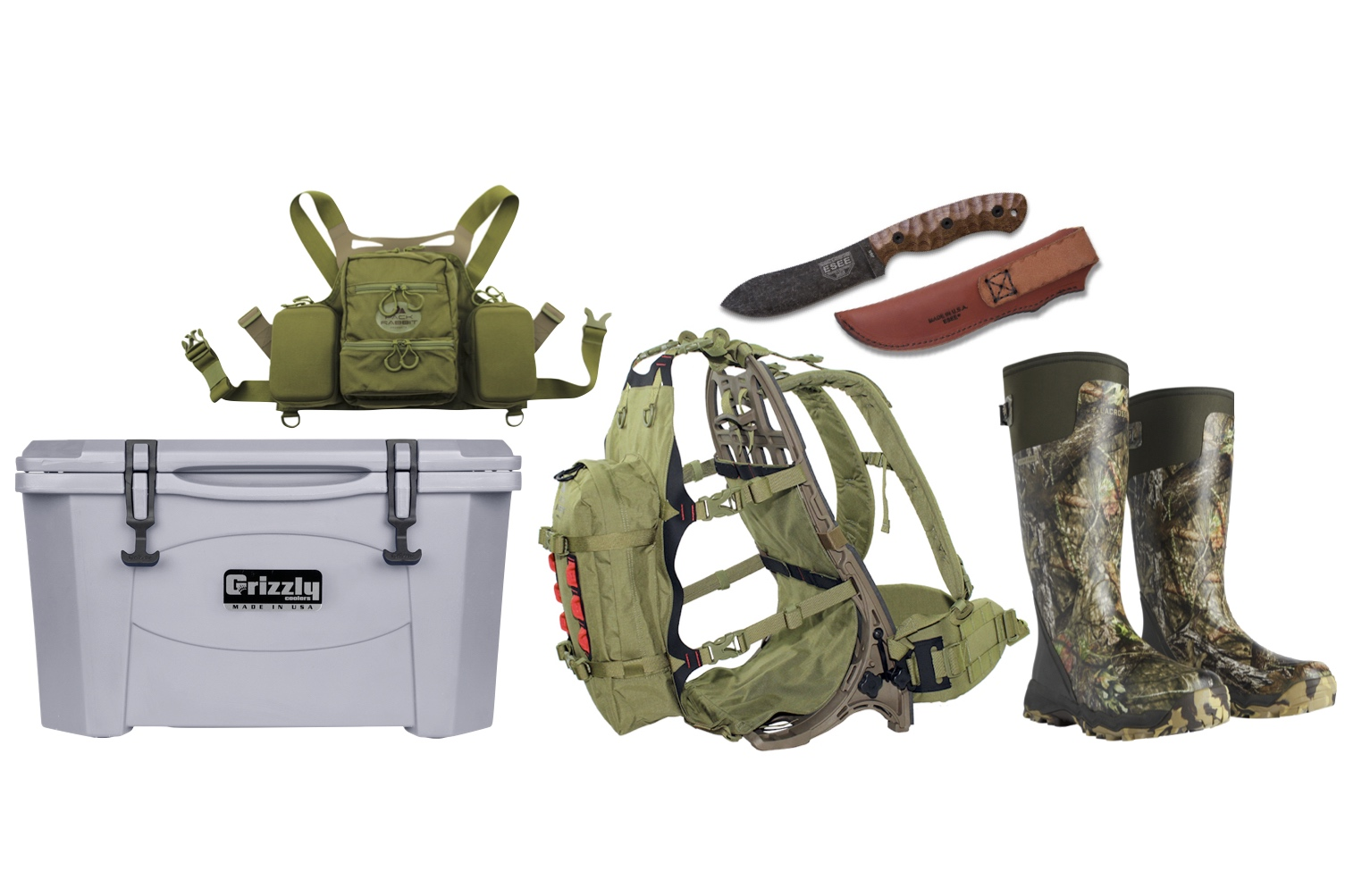 5th Prize - Hunters Gear Package. • Grizzly 40 Quart Cooler.• Pack Rabbit E.T.H. Chest Vest.• Pack Rabbit BCH60 Versatile Pack System.• ESEE JG5 Fixed Blade Knife.• LaCrosse Footwear Gift Certificate for any pair of LaCrosse boots.(Package valued at $1,100)