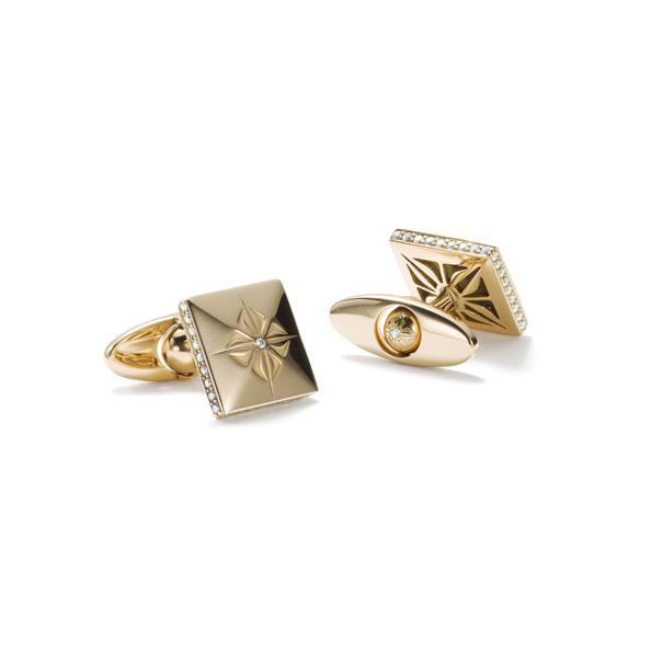 Shamballa Lock Manschettenknöpfe  Manschettenknöpfe in 18 Karat Gelbgold mit Diamanten.