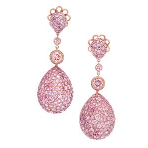 Ohrhänger in 18 Karat Rotgold mit natural fancy pink Diamanten von Total 19.93 ct.