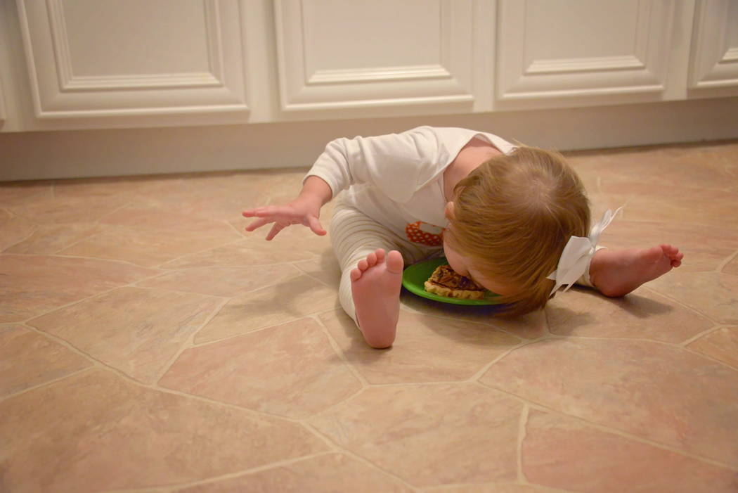 I dare you to try and eat your pie like this. And if you do please send me a picture. Oh to be a limber as a 16 month old :)