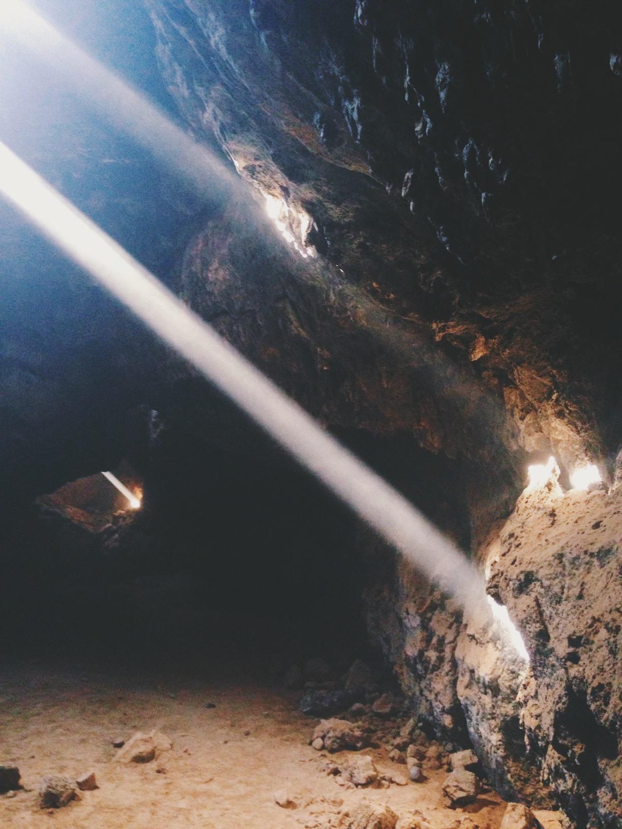 Sunbeams pierce the Lava Tube