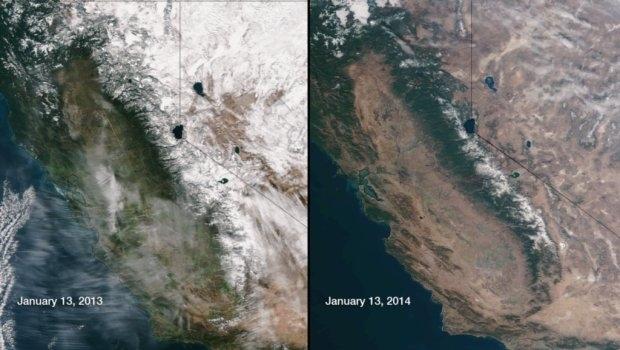 Satellite image comparing snowpack in 2013 and 2014. Credit: NOAA/NASA