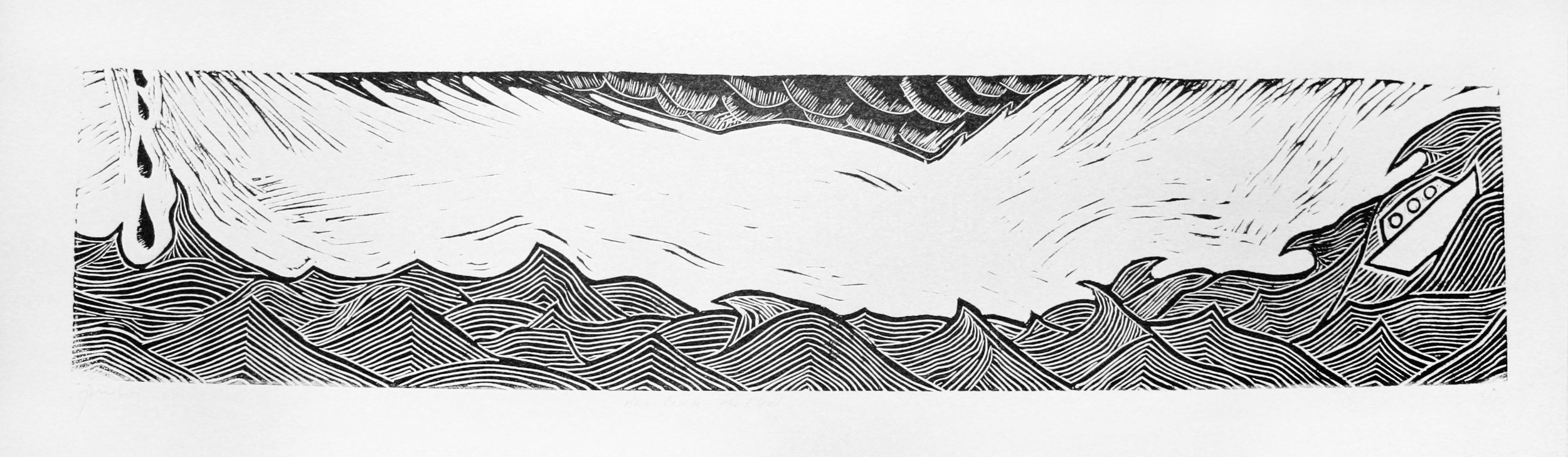 """Here Comes the Flood . Linocut on paper, 8.5""""x27"""""""