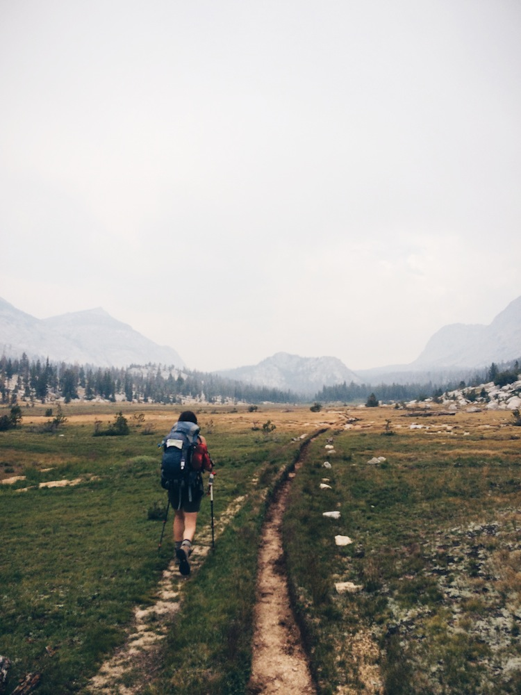 The hike from Merced Lake (elevation ~7,000 ft.) to Vogelsang (elev. ~10,000 ft.) is the most challenging. Luckily, it's also gorgeous. Here we had a much-needed break from the ascent, along a meadow.