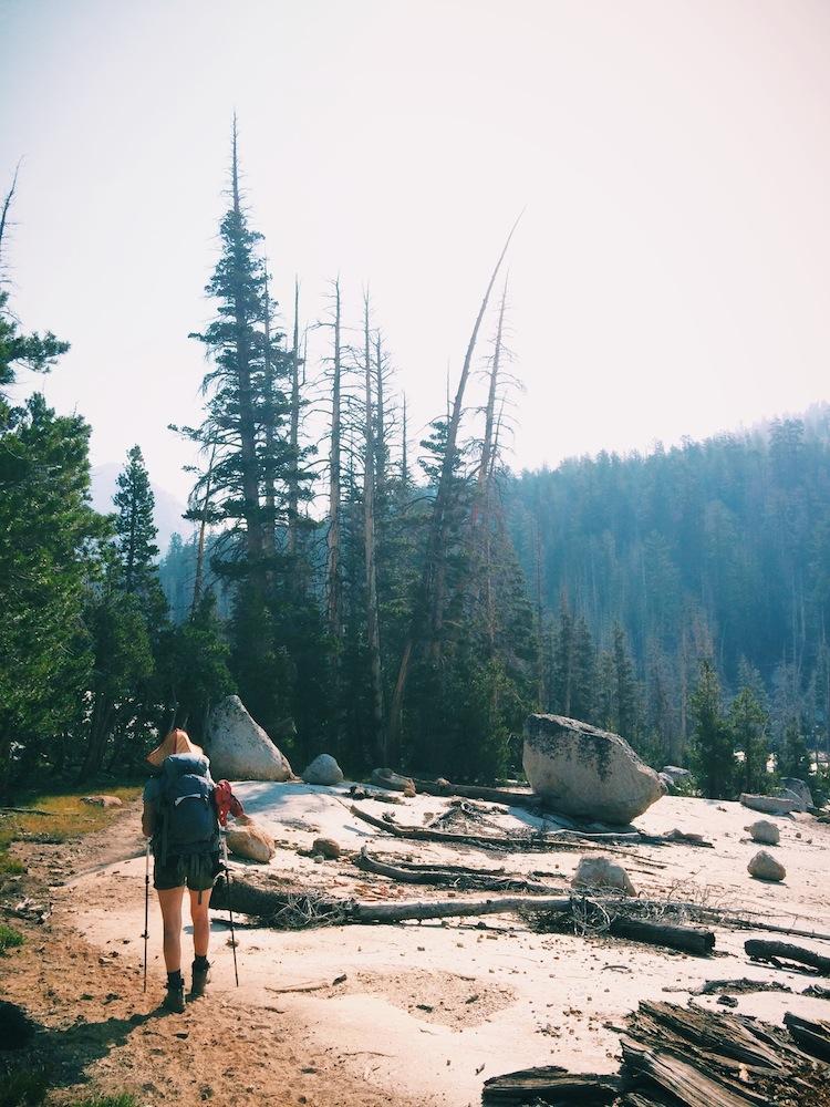 Hiking from Sunrise Lakes to Merced Lake.