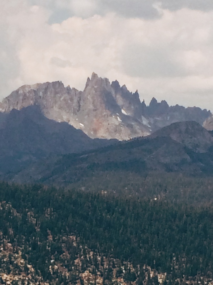 The Minarets, a series of jagged peaks in the Ritter Range within the Ansel Adams Wilderness, rise 13,000 feet above sea level.