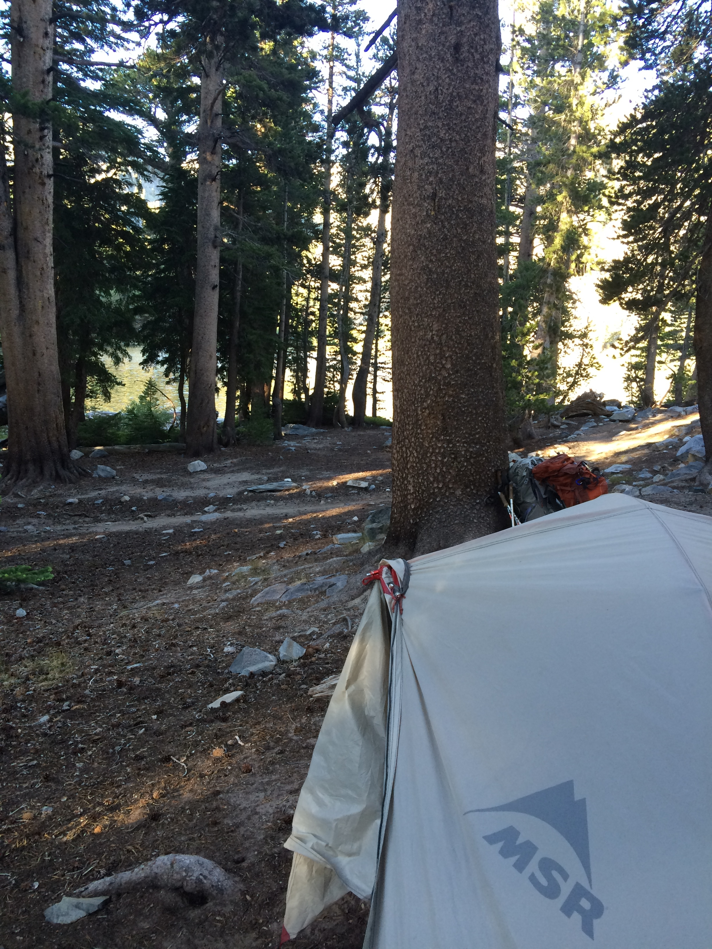 Day 3: Camping north of the trail near Rosalie Lake.